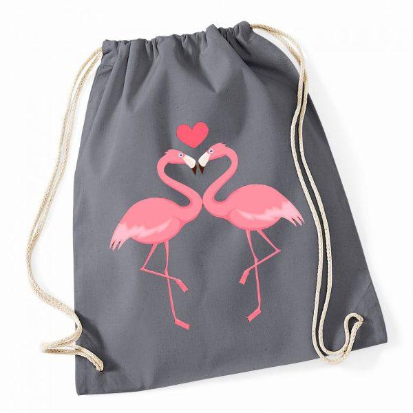 Jutebeutel Turnbeutel Sportbeutel grau Flamingo