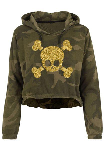 Damen Camouflage Cropped Hoodie Glitzer Totenkopf 2