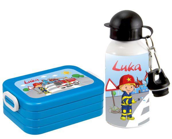 Brotzeitset Lunchbox MaxiTake A Break midi + Alu-Trinkflasche türkis Feuerwehr