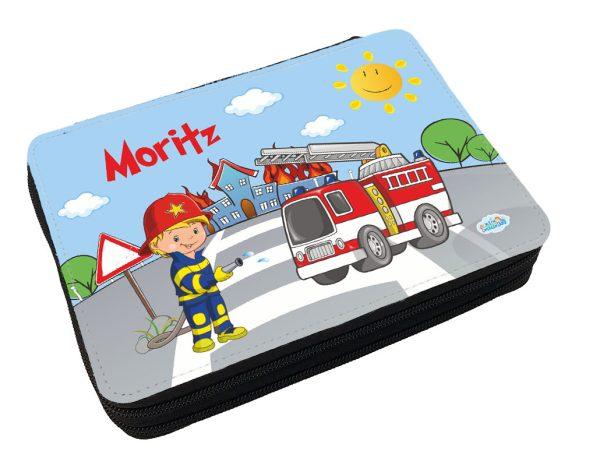 Personalisiertes Federmäppchen mit eigenem Namen und Feuerwehr