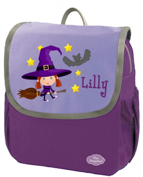 Kindergartenrucksack Happy Knirps NEXT mit Name Lila Hexe Fledermaus