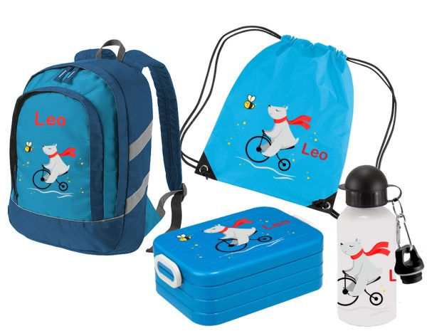 Set 5: Rucksack Bicolor - Brotdose Maxi - Turnbeutel - Alu-Trinkflasche Blau Motivauswahl