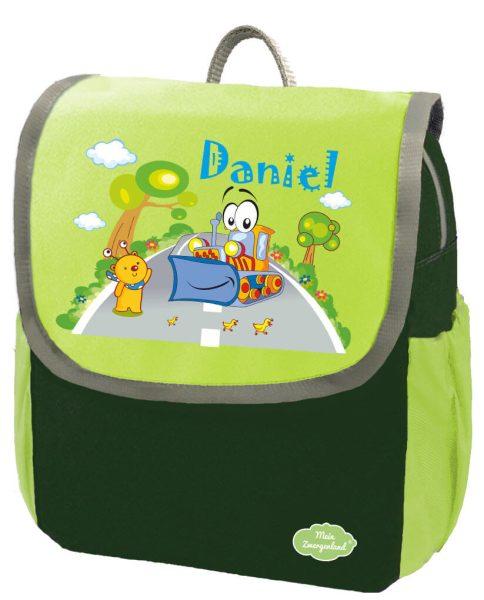 Kindergartenrucksack Happy Knirps NEXT mit Name Grün Bagger