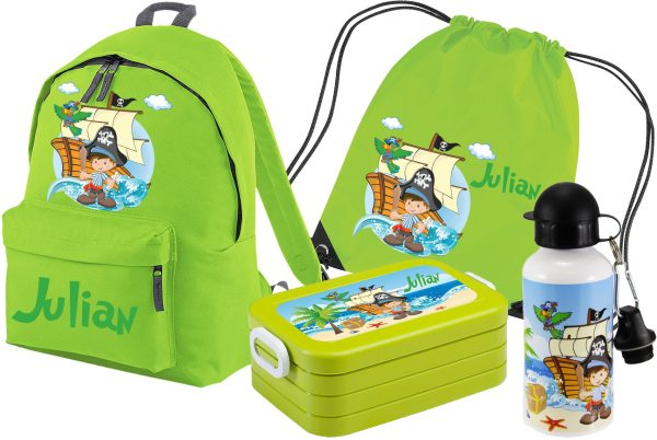 Set 5 Rucksack Junior - Brotdose Maxi - Turnbeutel - Trinkflasche Lime Pirat