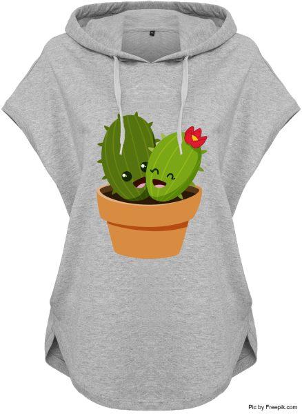 Kawaii Hoodie Kapuzenhoodie für Damen Kaktus Pärchen Topf