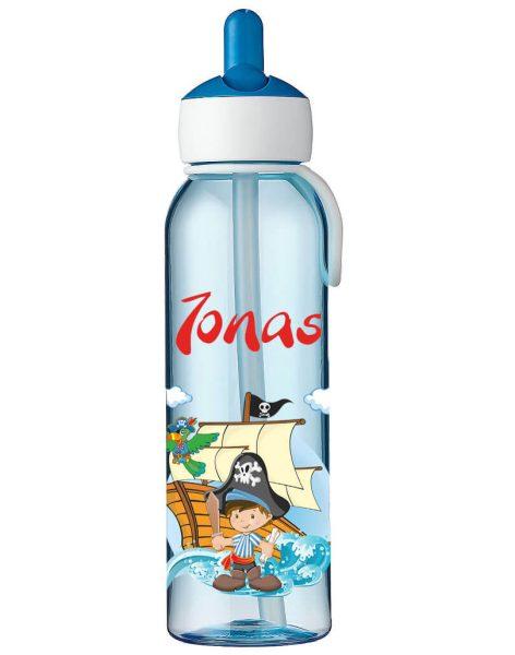 Wasserflasche Mepal Campus Flip-Up in Blau mit Name und Pirat