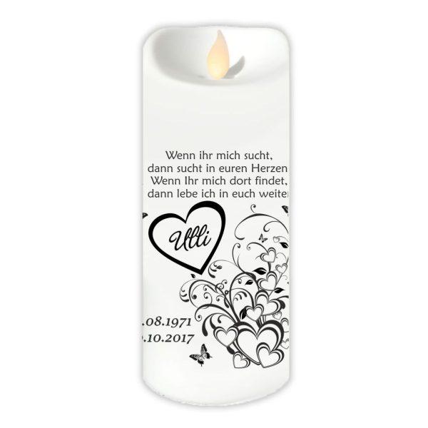 LED Kerze Twinkle Trauerkerze Herzen mit Schmetterlingen