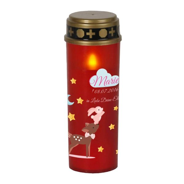 LED Grablicht Kerze Groß Sternenkind Reh mit Hase in rosa