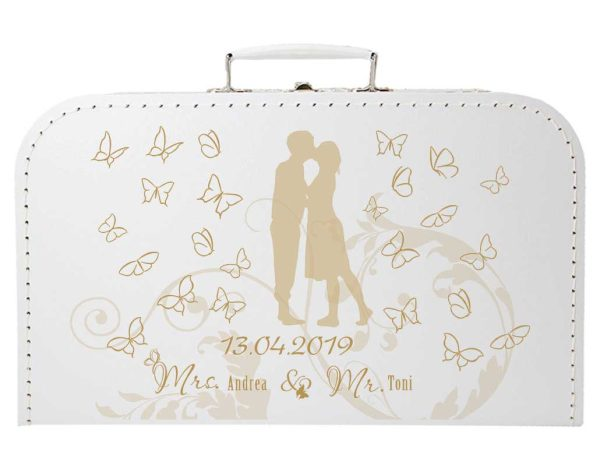 Koffer zur Hochzeit Geschenkkoffer Gastgeschenk weiss Schmetterlinge