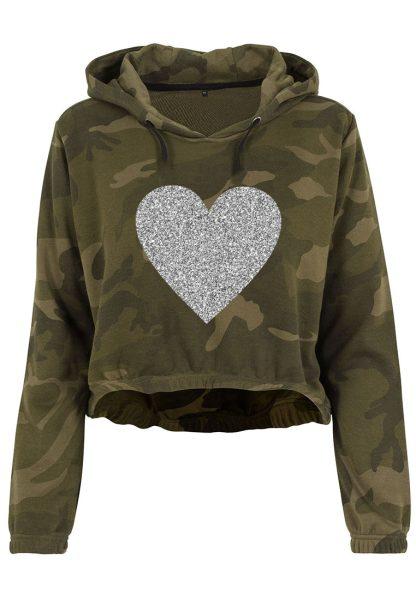 Damen Camouflage Cropped Hoodie Glitzer Herz