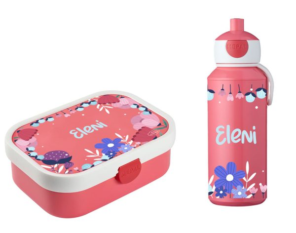 Brotdose Campus mit Bento-Einsatz - Campus Pop-Up Trinkflasche Rose Blumen Flower Love
