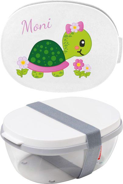 Salatbox Ellipse Weiss Schildkröte