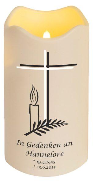 LED Kerze Trauerkerze aus Kunststoff Kreuz mit Kerze