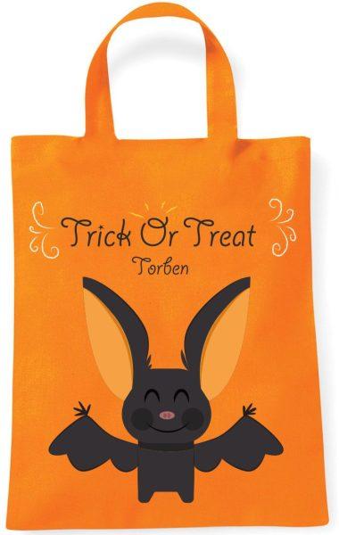 Sammeltasche Stofftasche mit eigenen Namen mini orange Halloween Fledermaus Trick or Treat