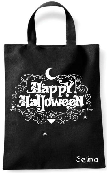 Sammeltasche Stofftasche mit eigenen Namen mini schwarz Happy Halloween Mond