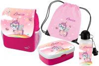 Set 5: Rucksack Happy Knirps NEXT Print+ Brotdose Rosti Mepal + Trinkflasche + Turnbeutel pink Einho