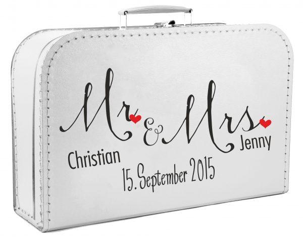 Koffer zur Hochzeit Geschenkkoffer Gastgeschenk weiss Mr Mrs