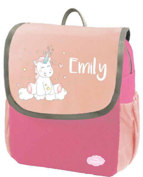 Kindergartenrucksack Happy Knirps NEXT mit Name Pink Einhorn Cutie