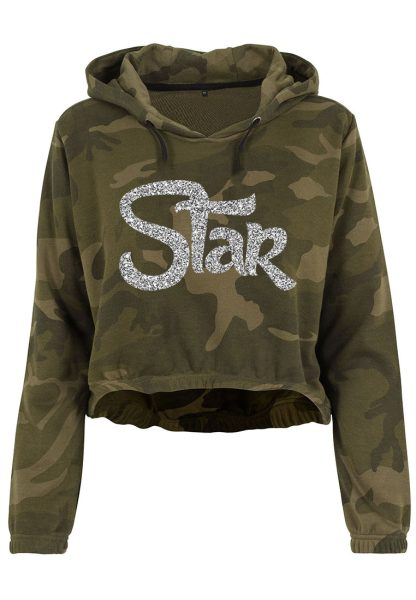 Damen Camouflage Cropped Hoodie Glitzer Star