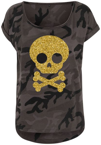 Damen Camouflage T-Shirt Glitzer Totenkopf 2