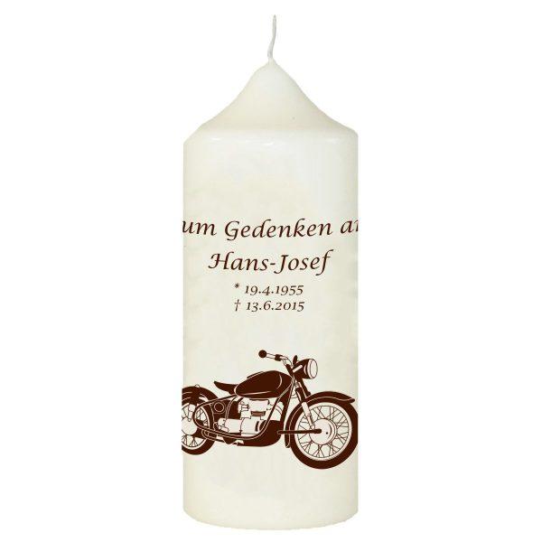 Wachskerze zum Gedenken Motorrad