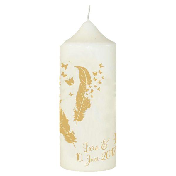 Hochzeitskerze Traukerze mit Namen und Datum Goldene Federn