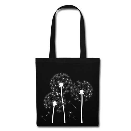 Stofftasche schwarz Pusteblume