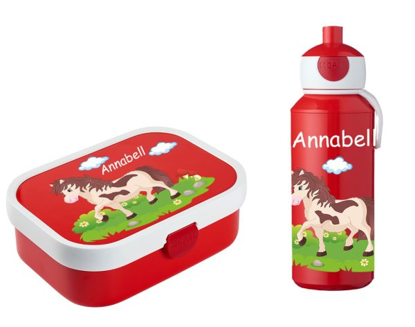 Brotdose Campus mit Bento-Einsatz - Campus Pop-Up Trinkflasche rot Pferd