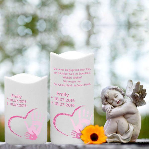 LED Kunststoff Kerze Weiß für Sternenkind Handabdruck in rosa
