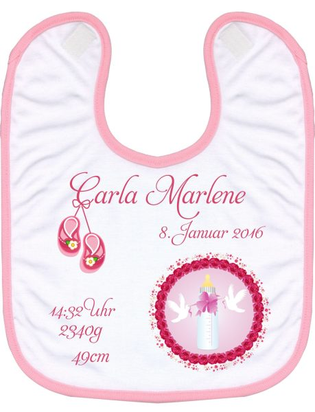 Babylatz rosa Babyflasche