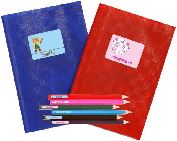Schulstarter - Set Stickerbogen mit Namensaufkleber und Heftaufkleber