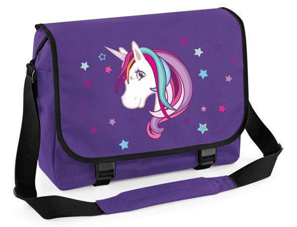 Schultertasche Schultasche Messenger Einhorn Unicorn beauty