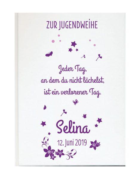 Personalisiertes Gästebuch zur Jugendweihe mit Namen und Datum Blüten und Sternchen in lila