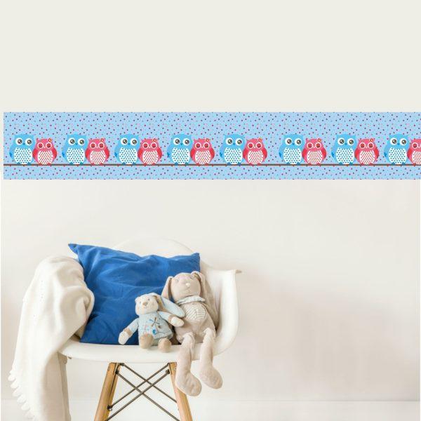 Vlies Bordüre selbstklebend fürs Kinderzimmer Eulenpaar
