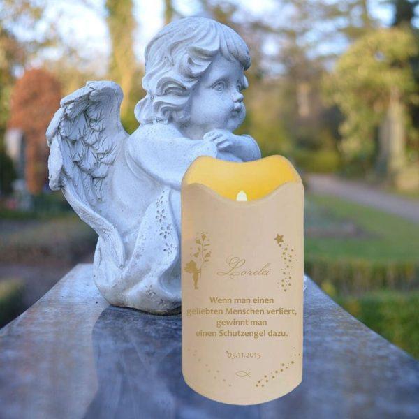 LED Kerze Trauerkerze aus Kunststoff Sternenkind Goldener Engel