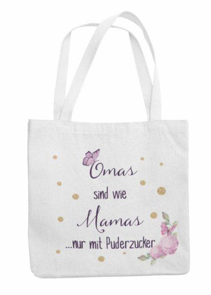 Stofftasche weiß Omas sind wie Mamas nur mit Puderzucker