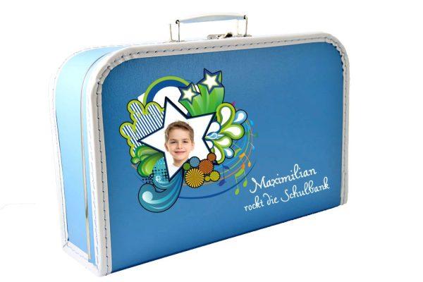 Kinderkoffer Spielzeugkoffer Koffer zum Schulanfang blau mit Foto