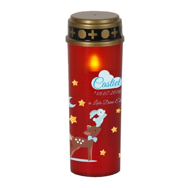 LED Grablicht Kerze Groß Sternenkind Reh mit Hase in blau