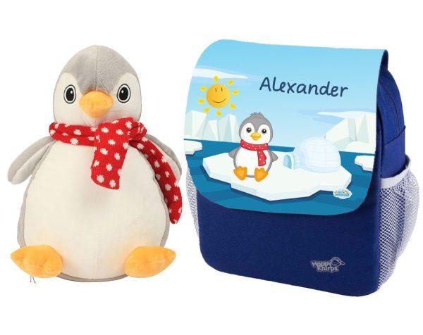 Kindergartenrucksack Happy Knirps NEXT Print mit Pinguin und Plüschpinguin