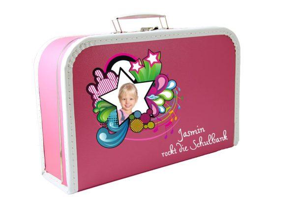 Kinderkoffer Spielzeugkoffer Koffer zum Schulanfang rosa mit Foto