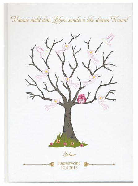 Personalisiertes Gästebuch zur Jugendweihe rosa