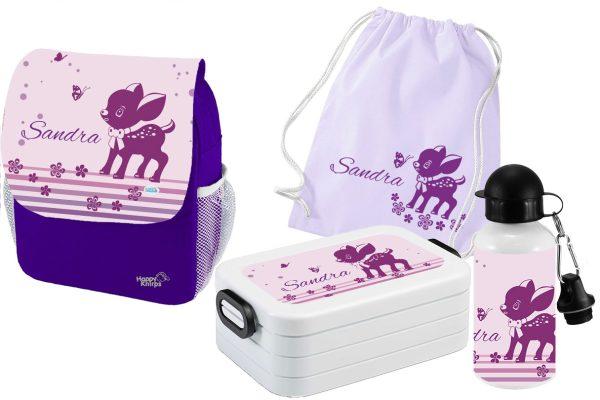 Set 5 Rucksack Happy Knirps NEXT Print - Brotdose Maxi - Trinkflasche - Jutebeutel Lila Motivauswahl