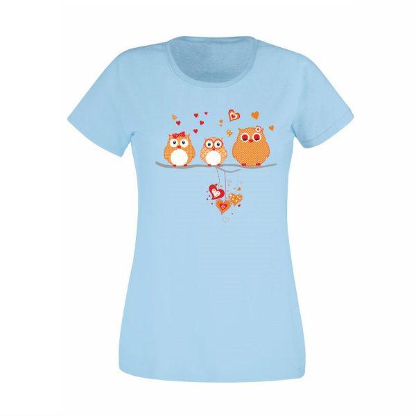 Damen T-Shirt Eulen orange