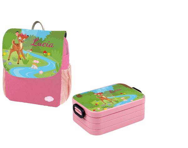 Set 1 Rucksack Happy Knirps NEXT Print - Brotdose Maxi Pink Motivauswahl