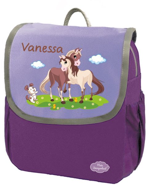 Kindergartenrucksack Happy Knirps NEXT mit Name Lila Pferde