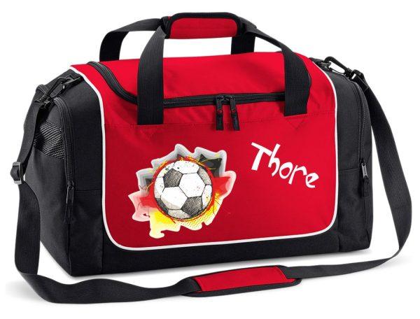 Sporttasche in Rot mit Name und Fußball Deutschland