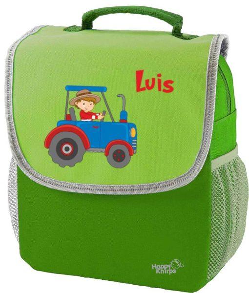 Kindergartenrucksack Happy Knirps NEXT mit Name Grün Traktor