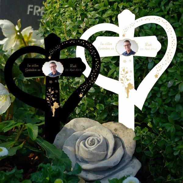 Grabkreuz mit Herz Goldener Engel mit Foto