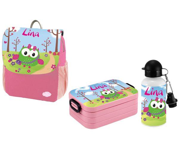 Set 3 Rucksack Happy Knirps NEXT Print - Brotdose Maxi - Trinkflasche Pink Motivauswahl