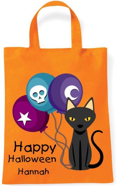 Sammeltasche Stofftasche mit eigenen Namen mini orange Halloween Katze